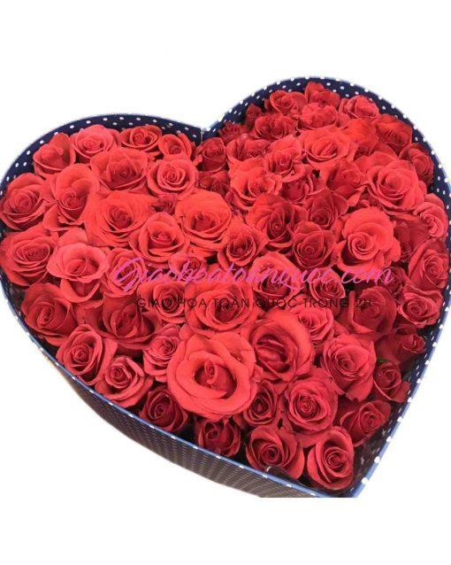 Hộp hoa trái tim giao hoa toàn quốc D09