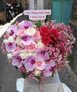 Giỏ hoa trái tim giao hoa toàn quốc D12