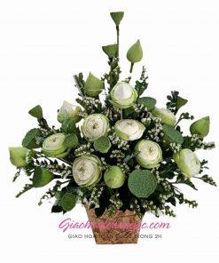 Giỏ hoa sen trắng giao hoa toàn quốc D37